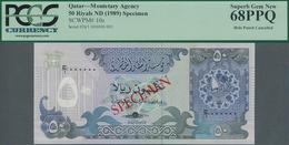 Qatar: Monetary Agency 50 Riyals ND(1989) SPECIMEN, P.10s In Perfect UNC Condition, PCGS Graded 68 P - Qatar