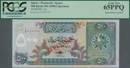 Qatar: Monetary Agency 500 Riyals ND(1980's) SPECIMEN, P.12s With Punch Hole Cancellation In Perfect - Qatar
