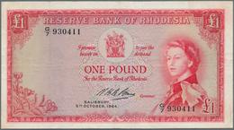 Rhodesia / Rhodesien: 1 Pound 05.10.1964 P. 25, Portrait QEII, 6 Tiny Pinholes, Vertical And Horizon - Rhodesia