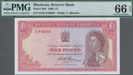 Rhodesia / Rhodesien: Reserve Bank Of Rhodesia 1 Poound 1968, P.28d In UNC, PMG Graded 66 Gem Uncirc - Rhodesia