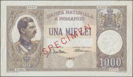 Romania / Rumänien: Banca Naţională A României 1000 Lei 1934 SPECIMEN, P.37s, Unfolded With Some Min - Romania
