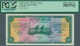Saudi Arabia  / Saudi Arabien: 10 Riyals ND(1954) P. 4, Condition: PCGS Graded Choice About New 58PP - Saudi Arabia