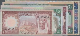 Saudi Arabia  / Saudi Arabien: L. AH1379 ND(1976-1977) Issue, Set With 5 Banknotes 1 - 100 Riyals P. - Saudi Arabia