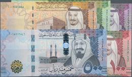 Saudi Arabia  / Saudi Arabien: Lot With 5 Banknotes Comprising 5, 10, 50, 100 And 500 Riyals 2016, P - Saudi Arabia