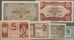 Slovenia / Slovenien: Highly Rare Lot With 6 Banknotes Comprising 1/2, 1, 2 And 5 Lir 1944 Of The SP - Slovenia