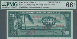 South Vietnam / Süd Vietnam: 200 Dong ND(1955) SPECIMEN, P.14s In UNC, PMG Graded 66 Gem Uncirculate - Vietnam