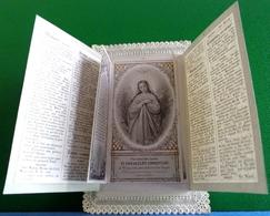 XIX °  IMAGE PIEUSE Cadre Dentelle L IMMACULEE CONCEPTION , REINE DES ANGES  Système  5 Volets OLD HOLY CARD Mechanical - Images Religieuses
