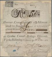 Sweden / Schweden: Riksens Ständers Banque Unlisted Banknote Or Bank Drafts Of 5 Skillingar December - Sweden