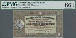 Switzerland / Schweiz: 5 Franken 1952, P.11p In UNC, PMG Graded 66 Gem Uncirculated EPQ - Switzerland
