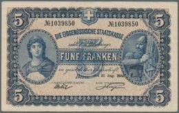 Switzerland / Schweiz: 5 Franken 1914 P. 14, Strong Original Paper, Bright Colors, Only One Vertical - Switzerland
