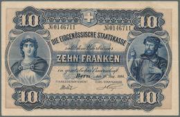 Switzerland / Schweiz: 10 Franken 1914 P. 17, Center Fold, Light Horizontal Fold, Strong Paper, Orig - Switzerland