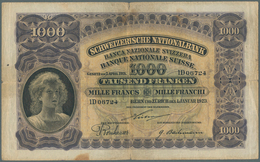 Switzerland / Schweiz: 1000 Franken 1923 P. 30, Strong Center Fold, Horizontal Fold, Stain Dot At Lo - Switzerland