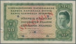 Switzerland / Schweiz: 50 Franken 1945 Specimen P. 42s, Rare Unissued Banknote, 5 Star Cancellation - Switzerland