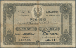 Thailand: 1 Tical ND(1918-25) Government Of Siam P. 14, Stonger Center And Horizontal Fold, Small Ce - Thailand