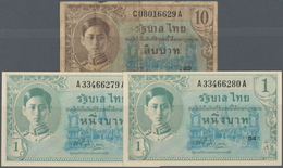 """Thailand: Set With 3 Banknotes Of The ND (1946) """"King Rama VIII - US Printing"""" Issue Comprising 2 X - Thailand"""