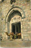 "PALESTINE CARTE POSTALE JERUSALEM PORTE DE.... AVEC CACHET ""PALESTINE CENSORSHIP N°2"" DEPART ARMY POST.. 27 MY 18 SZ44 - Palestine"