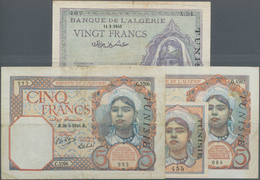 Tunisia / Tunisien: Banque De L'Algérie - TUNISIE, Set With 4 Banknotes 2x 5 Francs 1941 P.8 (F/F+), - Tunisia