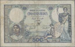 "Tunisia / Tunisien: Banque De L'Algérie 500 Francs 1939 With ""TUNISIE"" Overprint At Right On Algeria - Tunisia"