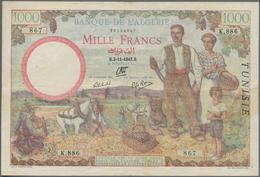 "Tunisia / Tunisien: Banque De L'Algérie 1000 Francs 1942 With ""TUNISIE"" Overprint At Right On Algeri - Tunisia"