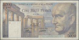 Tunisia / Tunisien: Banque De L'Algérie Et De La Tunisie 5000 Francs 1950, P.30, Rusty Pinholes At L - Tunisia