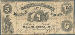 United States Of America - Confederate States: 5 Dollars 1861, P.8 In Heavily Used Condition With Re - Confederate Currency (1861-1864)