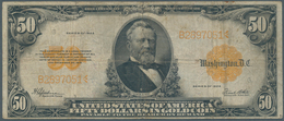United States Of America: 50 Dollars Gold Certificate Series 1922 With Portrait Of President Grant, - United States Of America