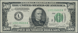 United States Of America: 500 Dollars Series 1934 With Signatures Julian & Morgenthau, P.434, Very N - United States Of America