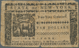 United States Of America: 10 Dollars State Of New York August 13th 1776, P.S2058, Highly Rare Note I - United States Of America
