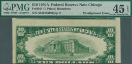 United States Of America: 10 Dollars 1950A Fr#2011-G, Misalignment ERROR On Back, Front Side Correct - United States Of America