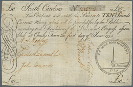 United States Of America: Colonial Currency, South Carolina 10 Pounds June 1st 1775 P. NL, Fr. #SC99 - United States Of America