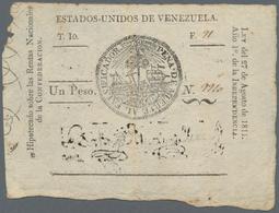 Venezuela: Estados Unidos De Venezuela 1 Peso L.27.08.1811, P.4A, Extraordinary Rare Banknote And A - Venezuela