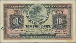 Western Samoa / West-Samoa: Territory Of Western Samoa 10 Shillings 1944, P.7c, Great Original Shape - Samoa