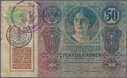 Yugoslavia / Jugoslavien: 50 Kronen ND(1919), Adhesive Stamp On Austria # 15, P.8b, Used Condition W - Yugoslavia