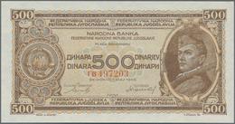 Yugoslavia / Jugoslavien: 500 Dinara 1946, P.66a Without Security Thread And Small Numerals, Tiny Di - Yugoslavia