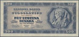 Yugoslavia / Jugoslavien: 500 Dinara 1950, P.67w (not Issued), Tiny Dint At Lower Left Corner. Condi - Yugoslavia