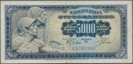 Yugoslavia / Jugoslavien: 5000 Dinara 1963, P.76, Lightly Toned And Stained Paper And Several Folds - Yugoslavia