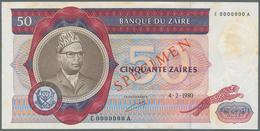 "Zaire: Set Of 70 Banknotes Zaire 50 Zaires 1980 Specimen P. 25s With Red ""Speicmen"" Overprint At Cen - Zaire"