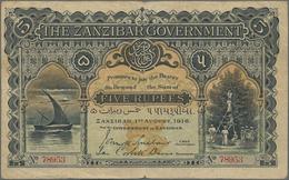 Zanzibar: The Zanzibar Government 5 Rupees August 1st 1916, P.2, Extraordinary Classic Rarity In Gre - Banknotes