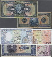 Alle Welt: Set Of 28 Notes Containing: Chad 500 & 1000 Francs 1989 & 89 P. 9, 10 (UNC); Tonga 1 & 5 - Banknotes