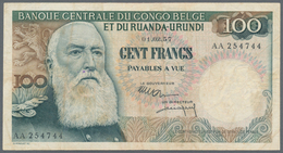 Alle Welt: Very Interesting Set With 14 Banknotes Containing Belgian Congo 100 Francs 1957 P.33b In - Banknotes