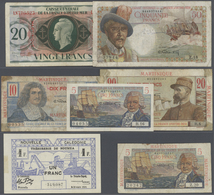 Alle Welt: Set Of 7 Banknotes Containing New Caledonia 1 Franc 1943 P. 55 (XF), French Equatorial Af - Banknotes