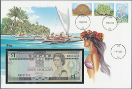 Alle Welt: Small Album With 19 First Day Covers Some With Banknotes From Libya, Anguilla, Bhutan, Fi - Banknotes