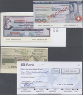 Alle Welt: Very Interesting Collection Of 18 Cheques And Travellers Cheques SPECIMEN Including 50 Ma - Banknotes