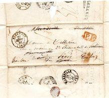 Lettre De Beauvais (58) T15 27-sept 46-Pour Beyrouth Rade Du Pirée-PP Rouge-au Dos-Purifiée Lazaret Marseille(Faible) - 1801-1848: Precursors XIX