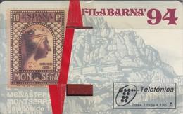 TARJETA DE ESPAÑA DE FILABARNA 94 DE TIRADA 4100 SELLO VIRGEN DE MONTSERRAT (STAMP)NUEVA-MINT - Sellos & Monedas