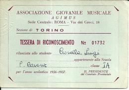 """3567 """"ASSOCIAZIONE GIOVANILE MUSICALE-ROMA-TESSERA DI RICONOSCIMENTO N°01732 ANNO SCOLASTICO 1956-1957"""" - ORIGINALE - Organizations"""