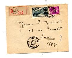 Lettre Recommandee Paris 44 Sur Gandon Meuse - Postmark Collection (Covers)