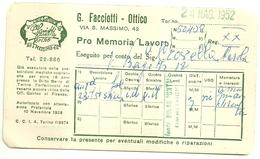 """3568 """"G. FACCIOTTI-OTTICO-TORINO-PRO MEMORIA LAVORO ESEGUITO PER CONTO DEL SIG. CROVELLA-24/5/1952"""" - ORIGINALE - Italy"""