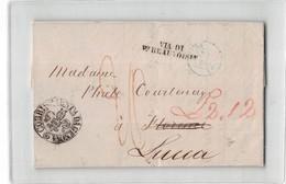 17458 PARIS  TO FIRENZE LUCCA VIA DI P.t BEAUVOISIN - TIMBRO CORRISPONDENZA ESTERA DA GENOVA 1847 WITH TEXT - Storia Postale
