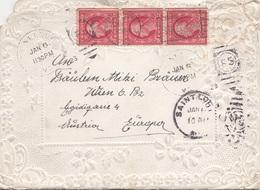 V1 - USA 1923 - 3 X 2 C Auf Brief Mit Prägeverzierung, Gel. St.LOIS > Wien VI, Starke Gebrauchspuren - Vereinigte Staaten